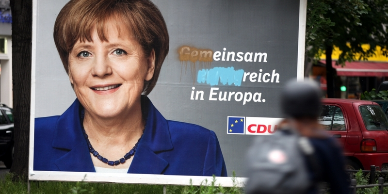 Beschmiertes CDU-Wahlplakat zur Europawahl - Foto: über dts Nachrichtenagentur