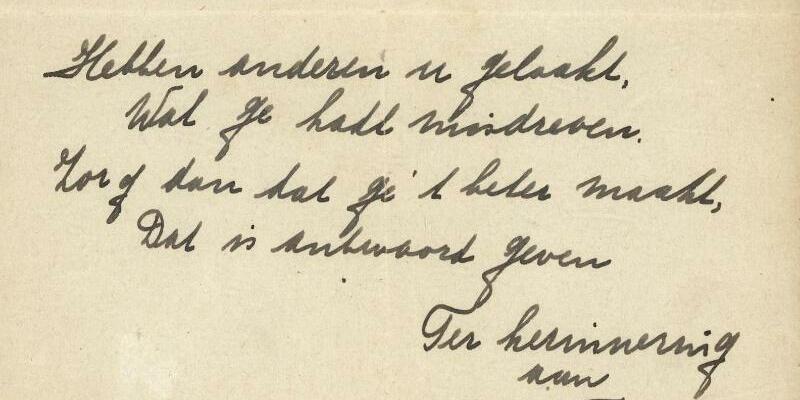 Gedicht von Anne Frank - Foto: Bubb Kuyper Veilingen