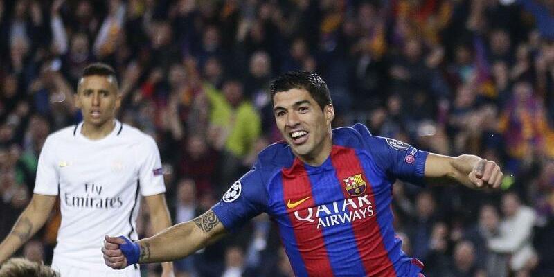 Torjäger - Foto: Luis Suarez jubelt nach seinem Treffer zum 1:0 für den FC Barcelona. Foto:Manu Fernandez