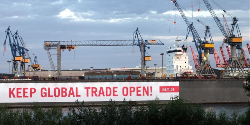 Pro-Globalisierungsbanner im Hamburger Hafen - Foto: über dts Nachrichtenagentur