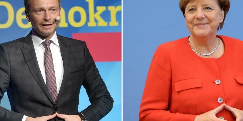 Christian Lindner und Angela Merkel - Foto: Tobias Hase;Michael Kappeler/Archiv