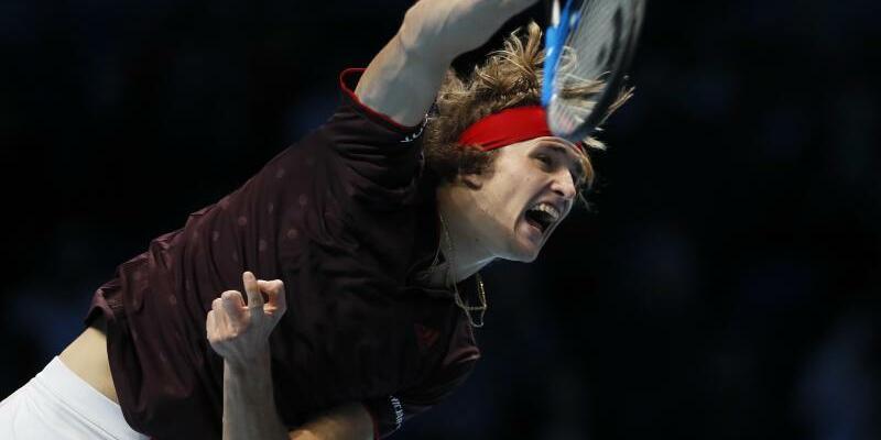 Kämpferisch - Foto: Alexander Zverev verpasst bei den ATP Finals einen Sieg im Match gegen Roger Federer. Foto:Kirsty Wigglesworth