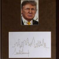 Trump-Skizze - Foto: Donald Trump hat die Skyline von Manhatten verewigt. Foto:Nate D. Sanders Auctions