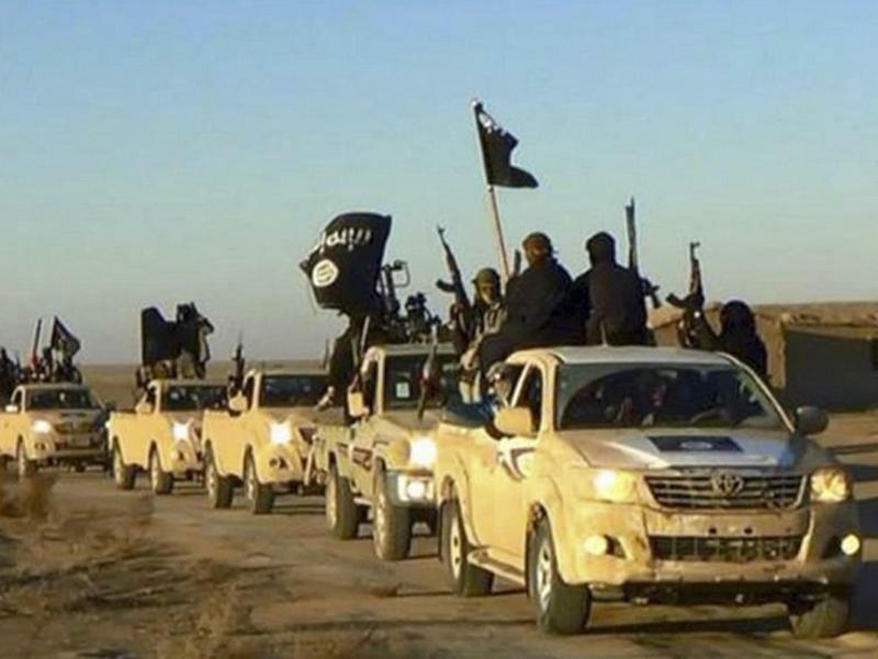 Islamischer Staat - Foto: Ein Fahrzeugkonvoi mit IS-Mitgliedern auf dem Weg von Al-Rakka (Syrien) in den Irak. In beiden Ländern steht die Terrormiliz mit dem Rücken zur Wand. Foto:Militant website