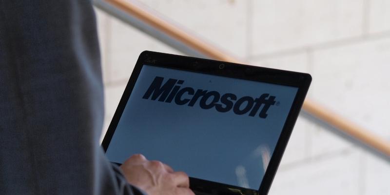 Microsoft-Logo auf einem Computer - Foto: über dts Nachrichtenagentur