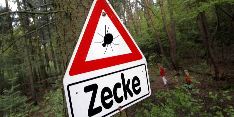 Warnschild vor Zecken - Foto: Frank Rumpenhorst/Archiv