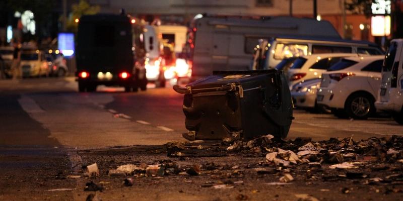 Abgebrannte Mülltonne bei Anti-G20-Protest in Hamburg - Foto: über dts Nachrichtenagentur