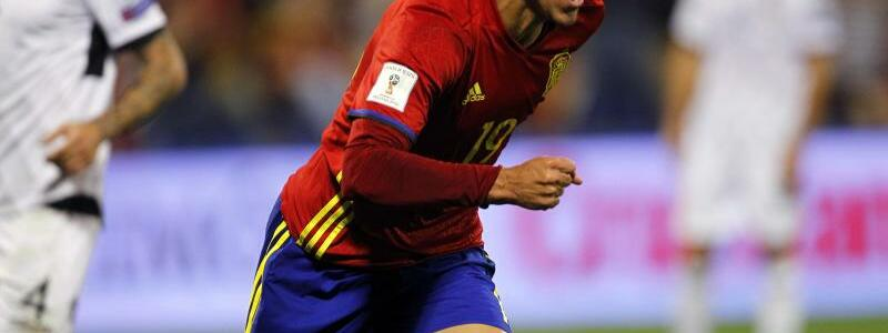 Spanien - Albanien - Foto: Auf WM-Kurs: Spaniens Rodrigo jubelt über seinen Führungstreffer gegen Albanien. Foto:Alberto Saiz