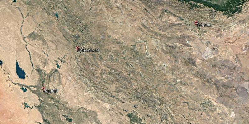 Schweres Erdbeben zwischen Iran und Irak - Foto: Google/dpa