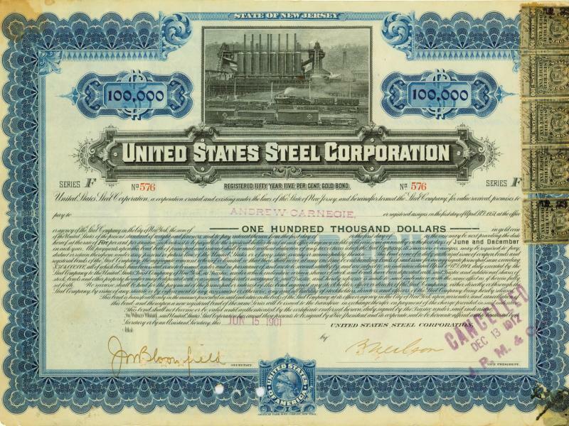 Anleihe der United States Steel Corporation - Foto: Historisches Wertpapierhaus AG