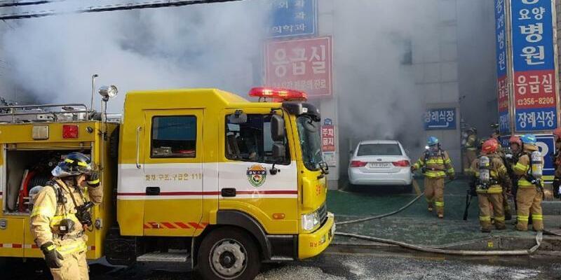 Feuer im Krankenhaus - Foto: National Fire Agency via Yonhap