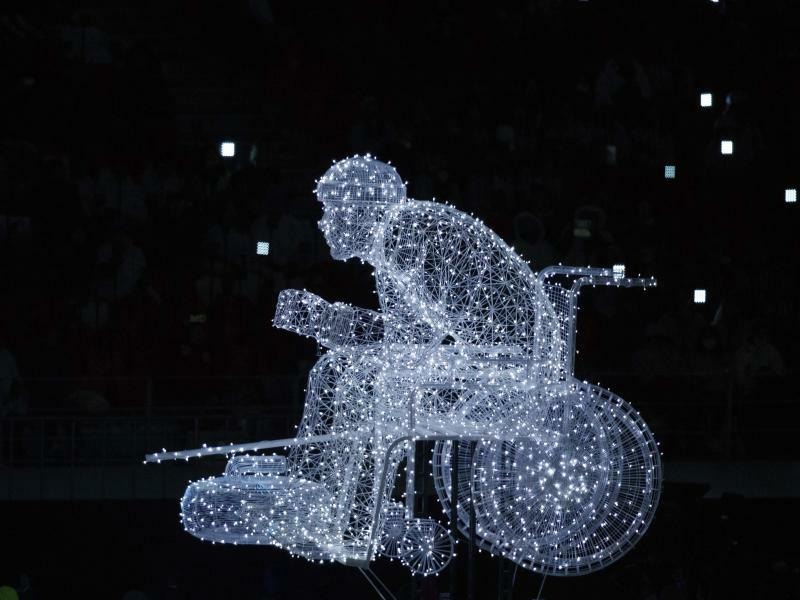 Skulptur aus Licht - Foto: Simon Bruty/OIS/IOC/AP