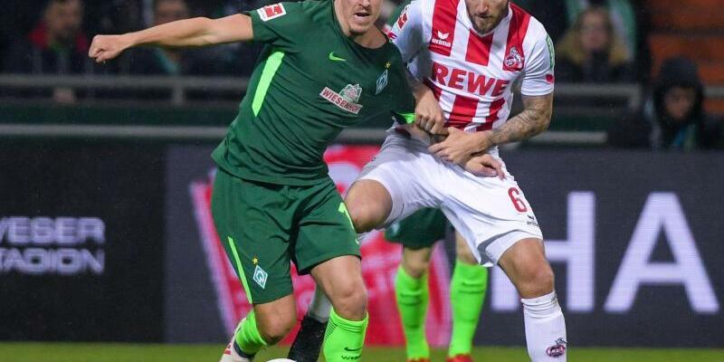 Zweikampf - Foto: Bremens Max Kruse (l) und der Kölner Marco Höger kämpfen um den Ball. Foto:Axel Heimken