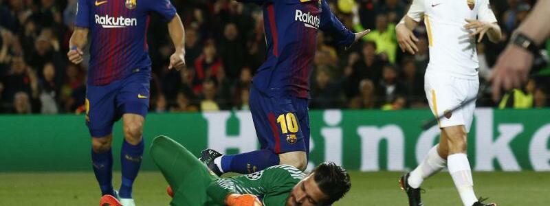 FC Barcelona - AS Rom - Foto: Lionel Messi (M) vom FCBarcelona jubelt über denTreffer zum 1:0 gegen AS Rom. Foto:Manu Fernandez/AP