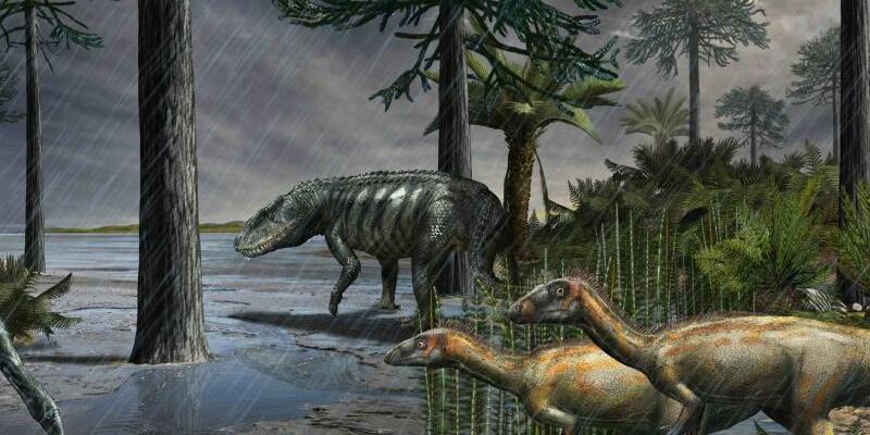 Dinosaurier - Foto: Die grafische Darstellung zeigt Dinoaurier in einer Szenerie, die derZeit vor rund 232 Millionen Jahren entsprechen soll. Foto:Davide Bonadonna