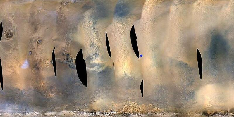 Staubsturm auf dem Mars - Foto: NASA/JPL-Caltech/MSSS