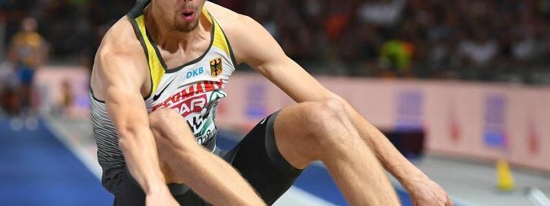 Fabian Heinle - Foto: Weitspringer Fabian Heinle wird mit 8,13 Metern Zweiter. Foto:Hendrik Schmidt