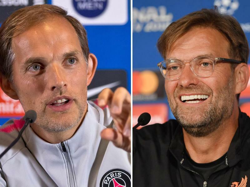Deutsches Duell - Foto: PSG-Coach Thomas Tuchel (l) und Liverpools Trainer Jürgen Klopp treffen in der Champions League aufeinander. Foto:Michel Euler/AP