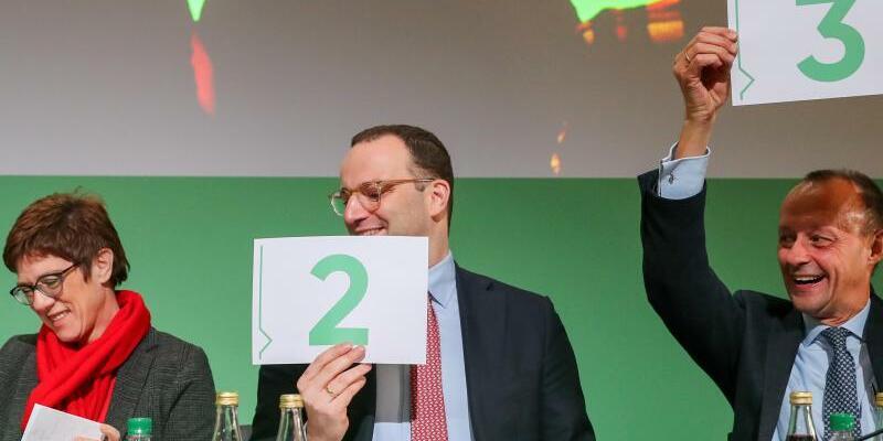 Kramp-Karrenbauer, Spahn und Merz in Leipzig - Foto: Jan Woitas