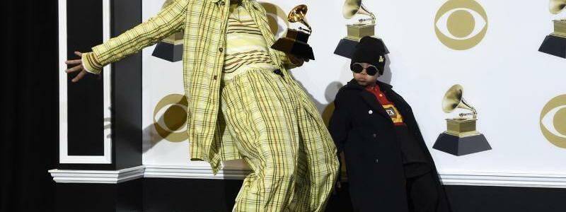 Grammys - Anderson .Paak - Foto: Anderson .Paak ist für die beste Rap-Performance ausgezeichnet worden.Sein Sohn Soul Rasheed steht ihm in nichts nach. Foto:Chris Pizzello/Invision/AP