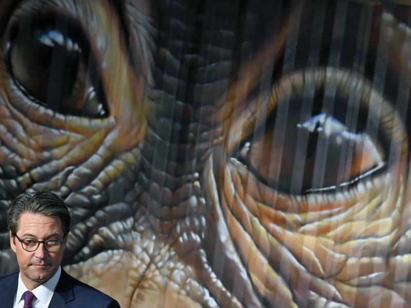 Scheuer vor Affe - Foto: Bundesverkehrsminister Andreas Scheuer vor einem Schimpansenmotiv auf «Noah's Train». Street Art Künstler haben diesen Zug mit Tiermotiven gestaltet. Die Güterbahnen in Europa engagieren sich damit gegen Klimawandel. Wissenschaftler und Politiker diskutie