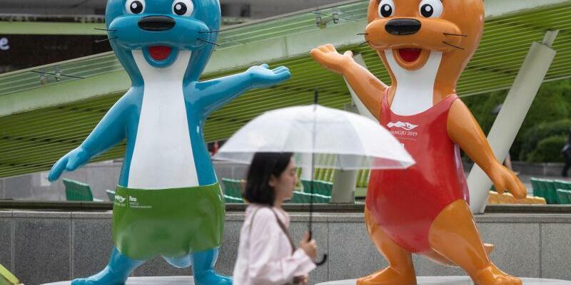 WM-Maskottchen - Foto: Zwei Otter sind die Maskottchen der Schwimm-WM im südkoreanischen Gwangju. Foto:Bernd Thissen
