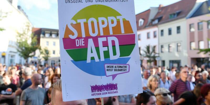 AfD-Wahlkampf in Döbeln - Protest - Foto: Hendrik Schmidt